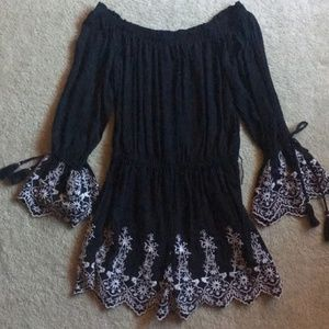 Off the shoulder embroidered AmericanEagle romper